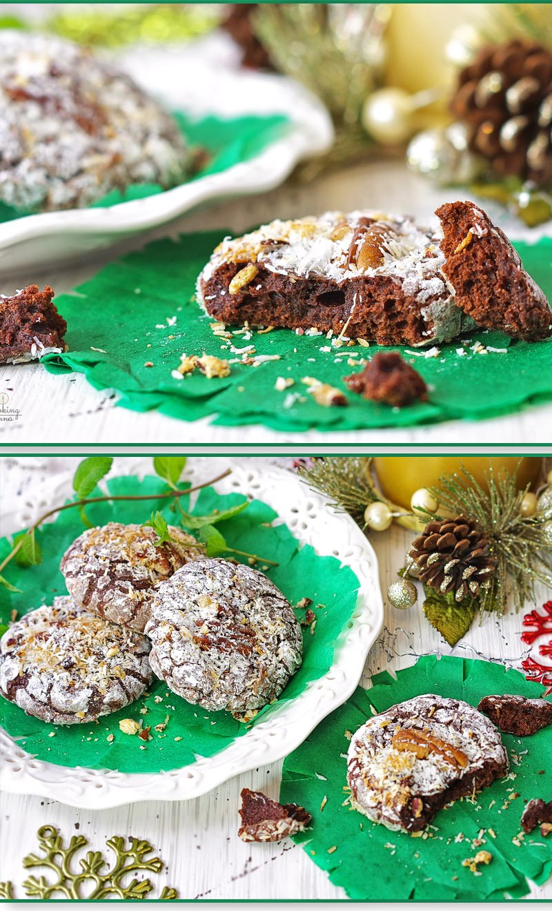 Chocolate Brownie Crinkle Cookies with Pecans and Coconut Flakes inside