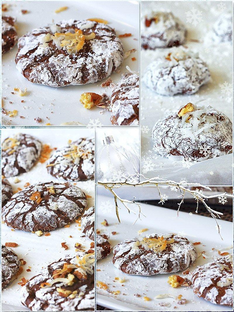 Chocolate Brownie Crinkle Cookies served