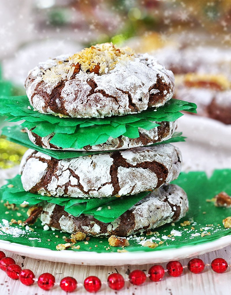 Chocolate Brownie Crinkle Cookies with Pecans and Coconut Flakes stacks