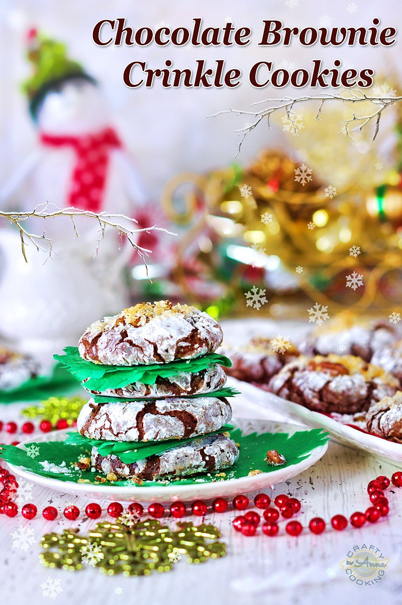 Chocolate Brownie Crinkle Cookies with Pecans and Coconut Flakes