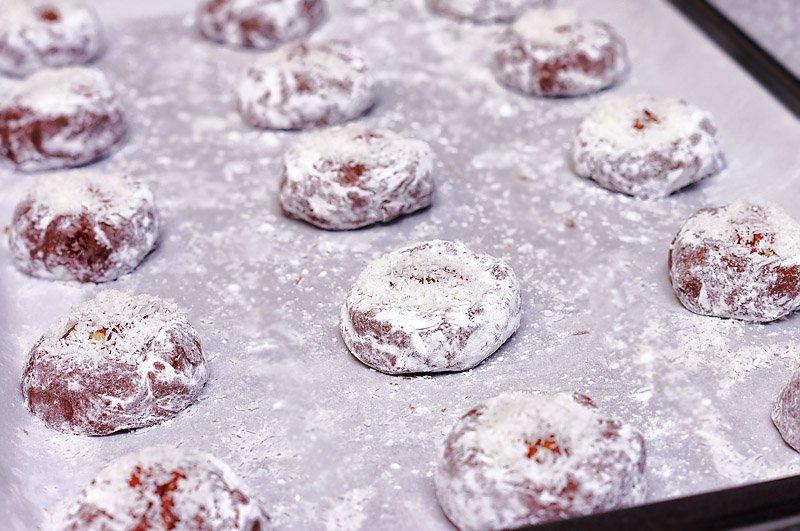 Chocolate Brownie Crinkle Cookies ready to bake