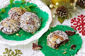 Chocolate Brownie Crinkle Cookies with Pecans and Coconut Flakes thumb