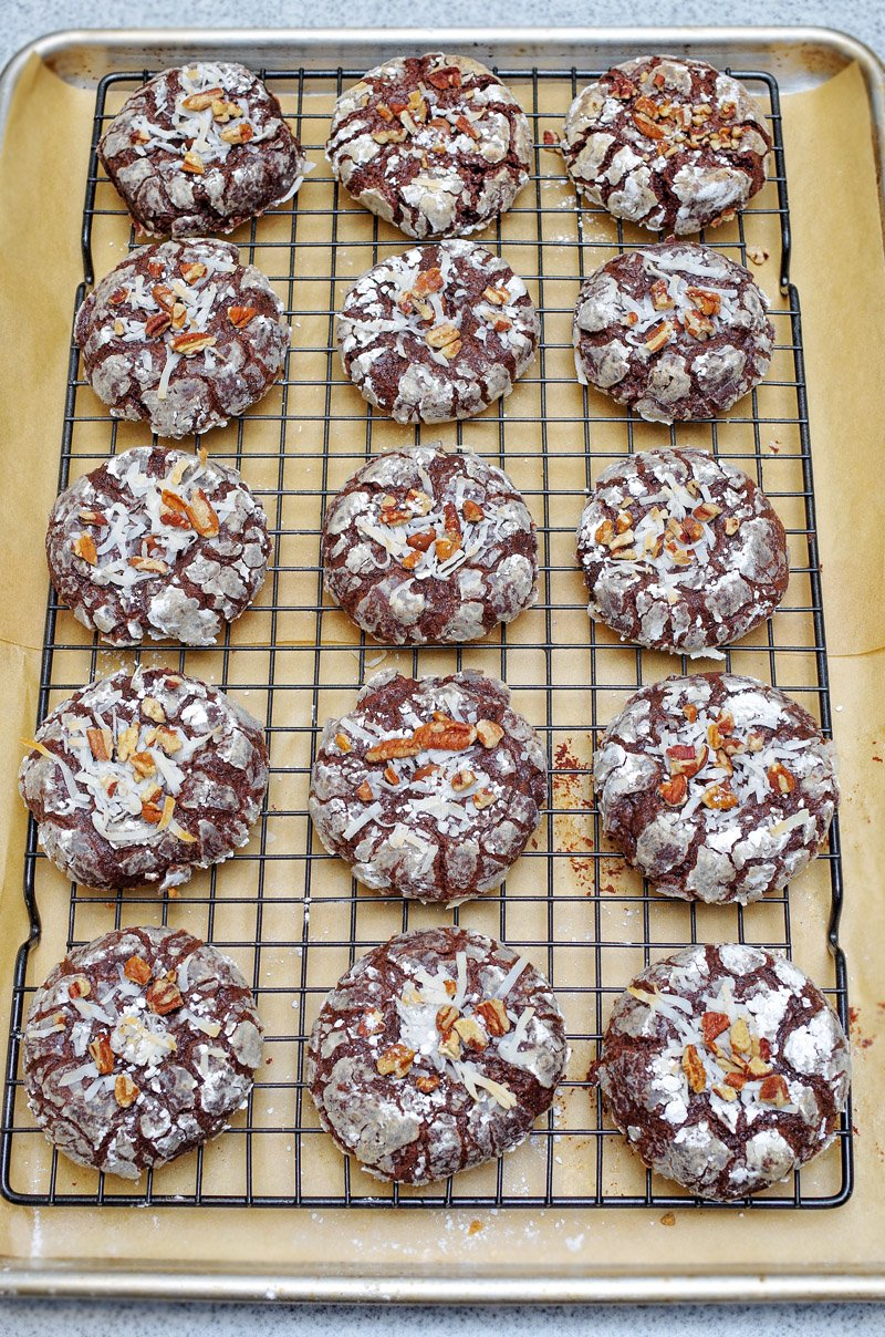 Chocolate Brownie Crinkle Cookies baked