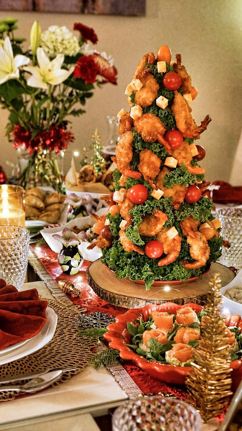 All Edible Shrimp Tree with breaded shrimp, cheddar cubes, and tomatoes