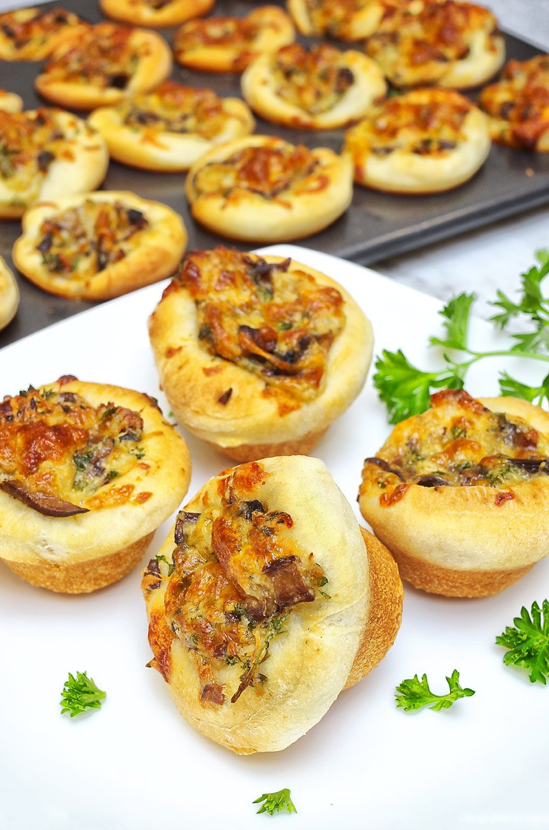 Baked Caramelized Onion and Mushroom Tartlets