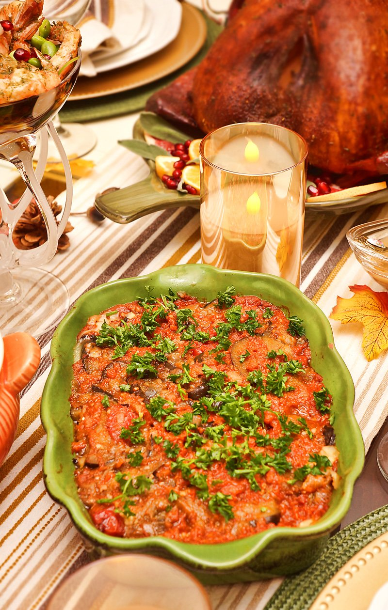Tomato Eggplant Bake with Pesto Farmers cheese