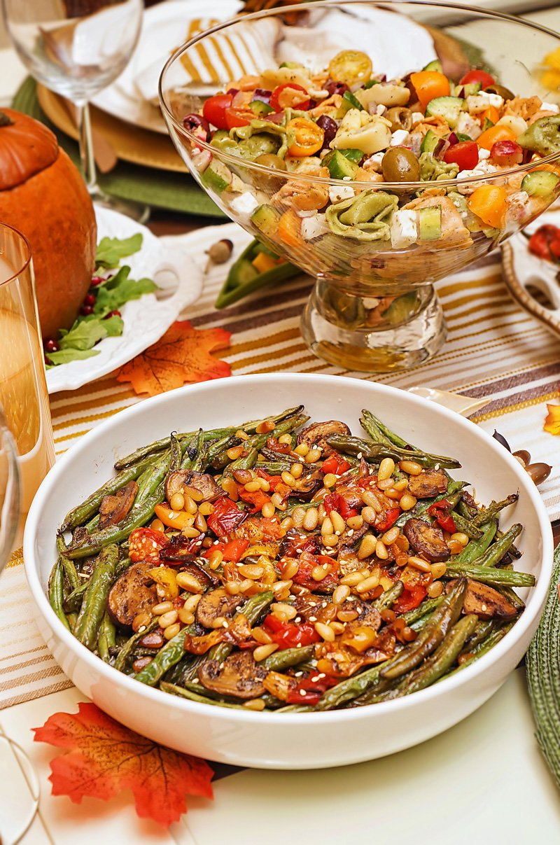 Green Beans with caramelized onions, mushrooms, peppers, garlic, and toasted pine nuts.