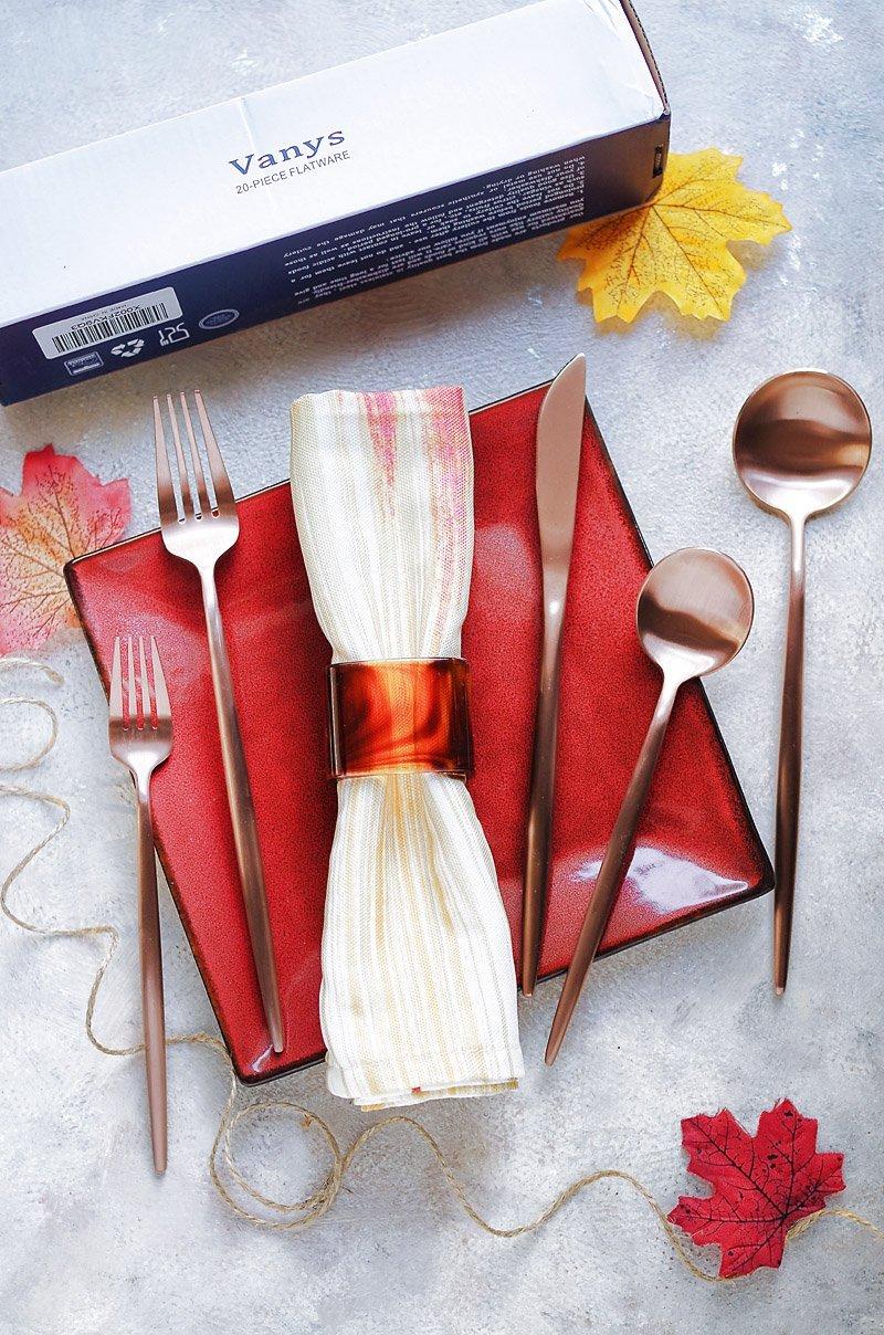 Matte Rose Gold Flatware Cutlery Set