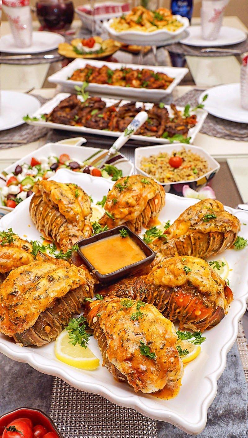 Baked Garlic Lobster Tails