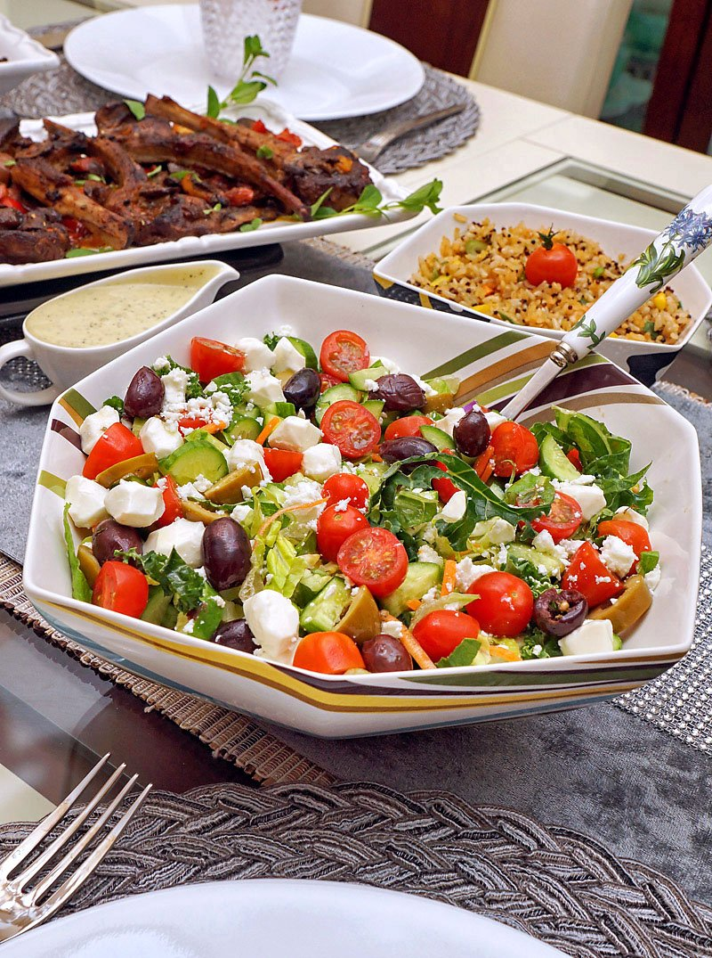Chopped Salad with Avocado Ranch dressing