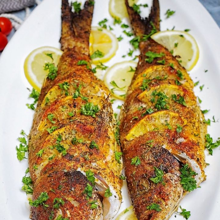 Oven Baked Whole Yellowtail Snapper pin