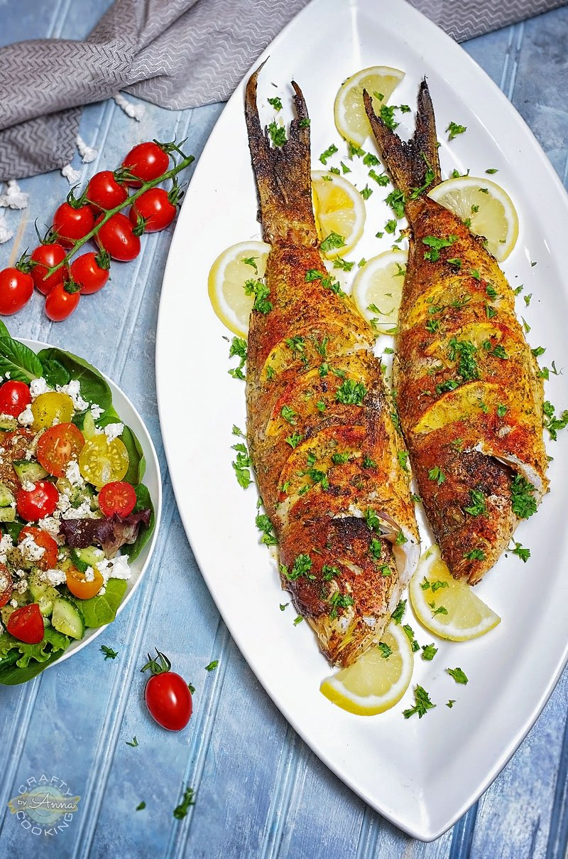 Baked Yellowtail Snapper and Salad