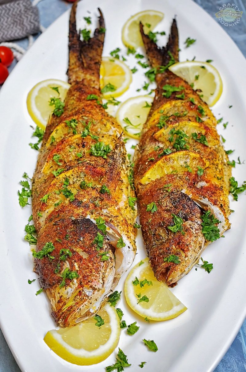 Oven Baked Whole Yellowtail Snapper served