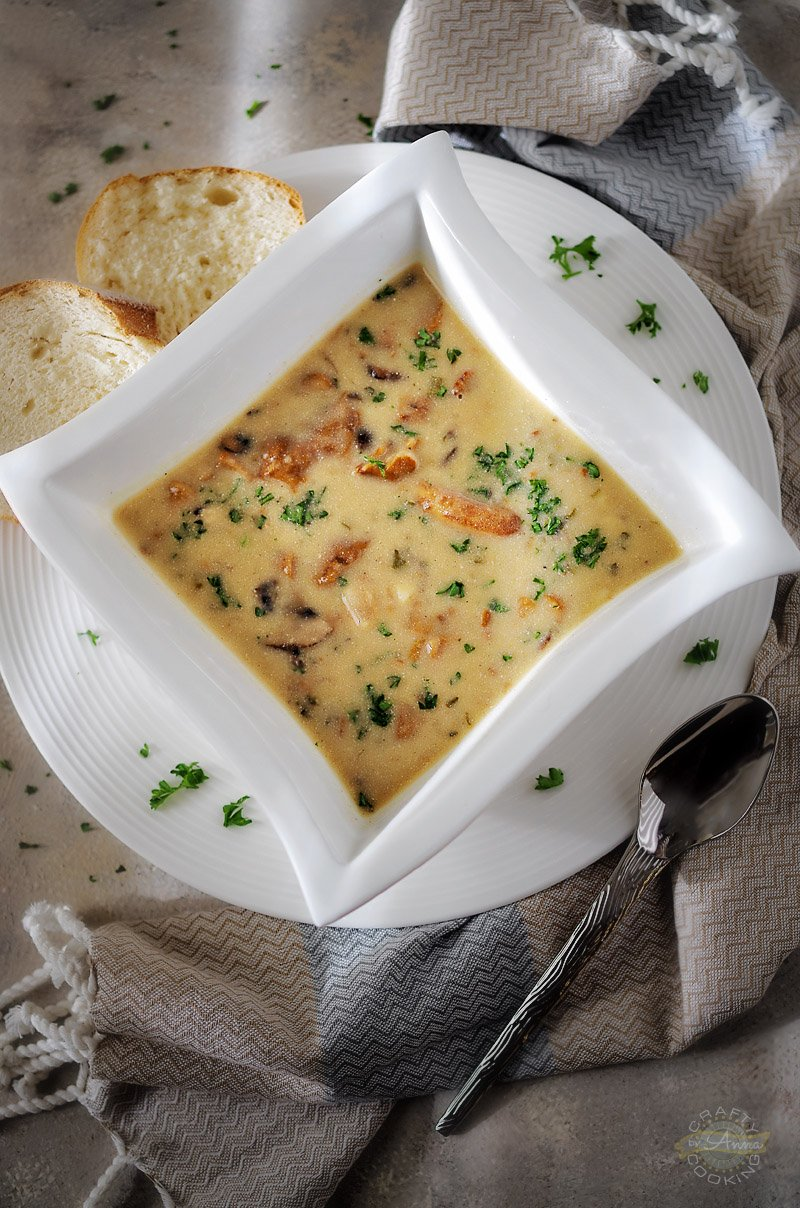 Creamy Mushroom Soup served