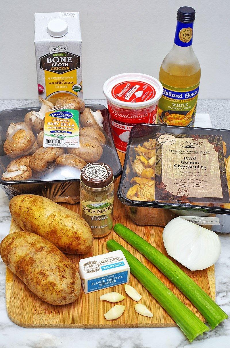 Creamy Mushroom Soup ingredients