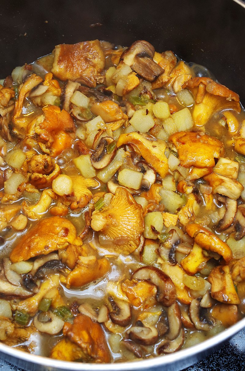 Mushrooms added to soup