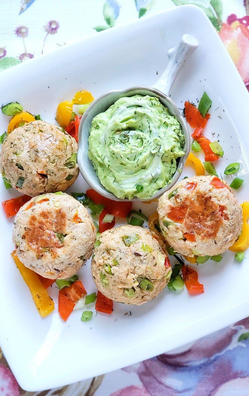 Baked Salmon Meatballs served