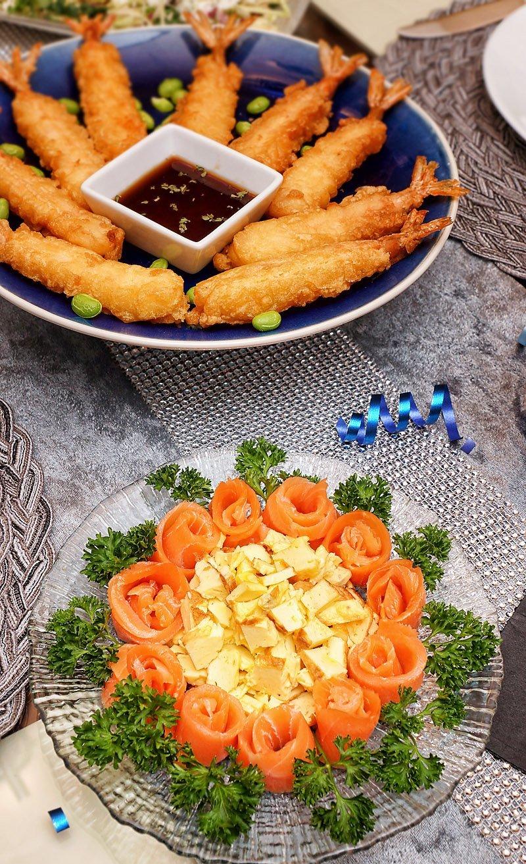 smoked salmon eggs and shrimp tempura from Costco