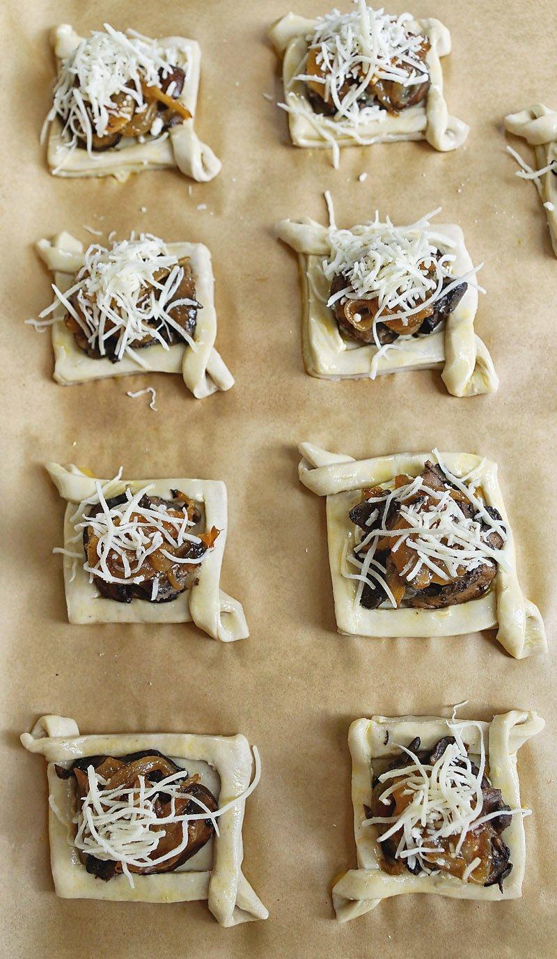 puff pastry mushroom bites ready to bake