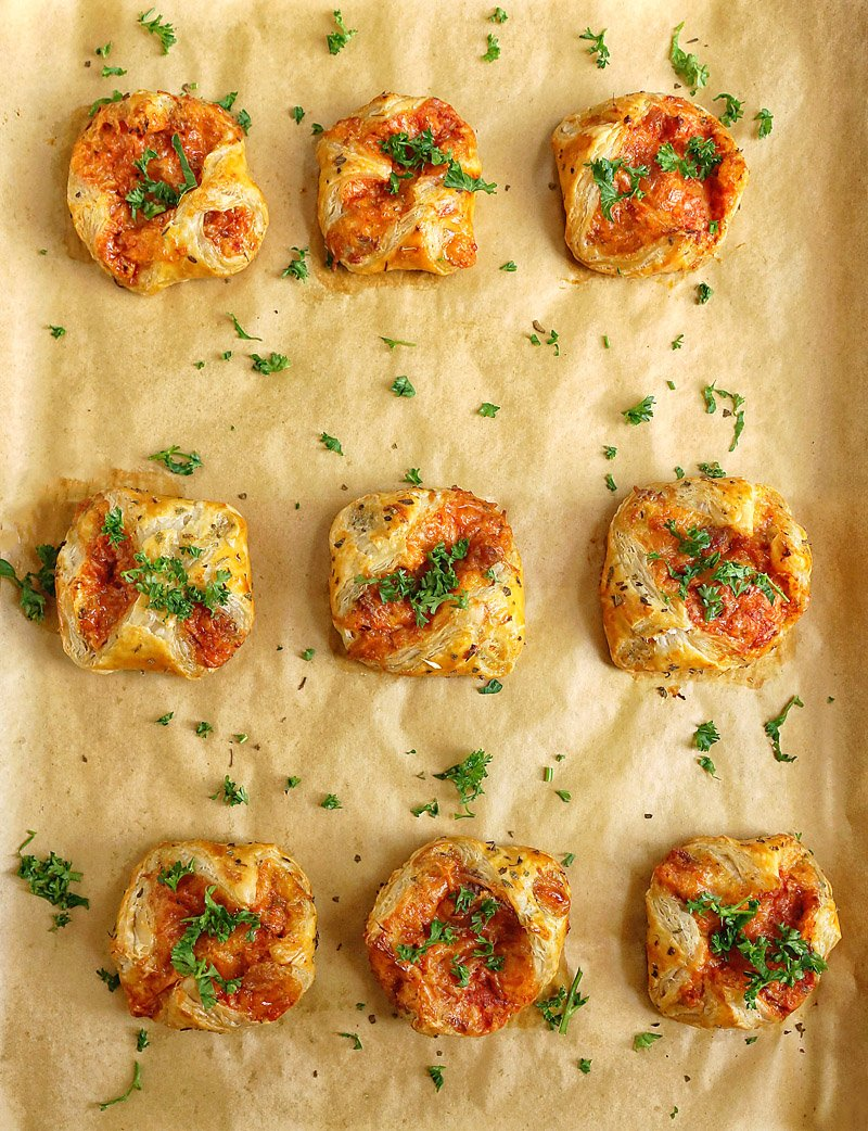 Savory Puff Pastry Pizza Bites baked