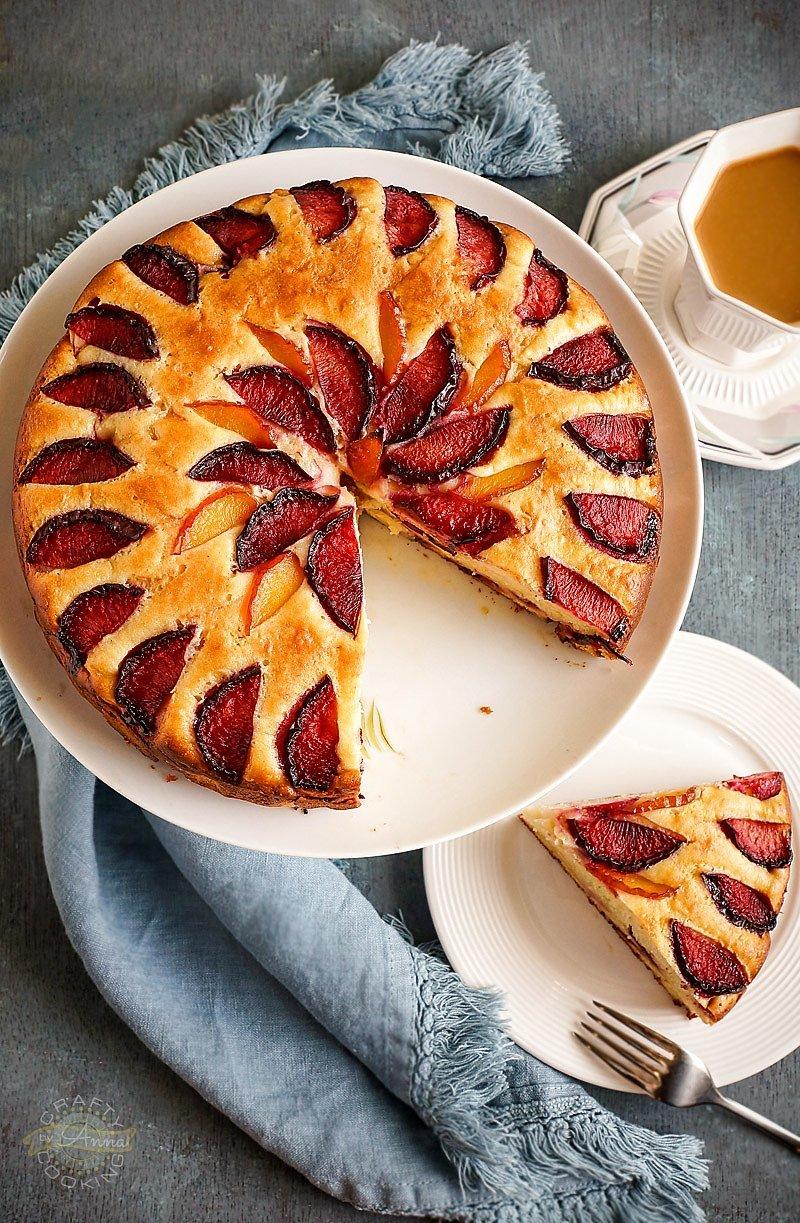 PlumRicotta Cake sliced
