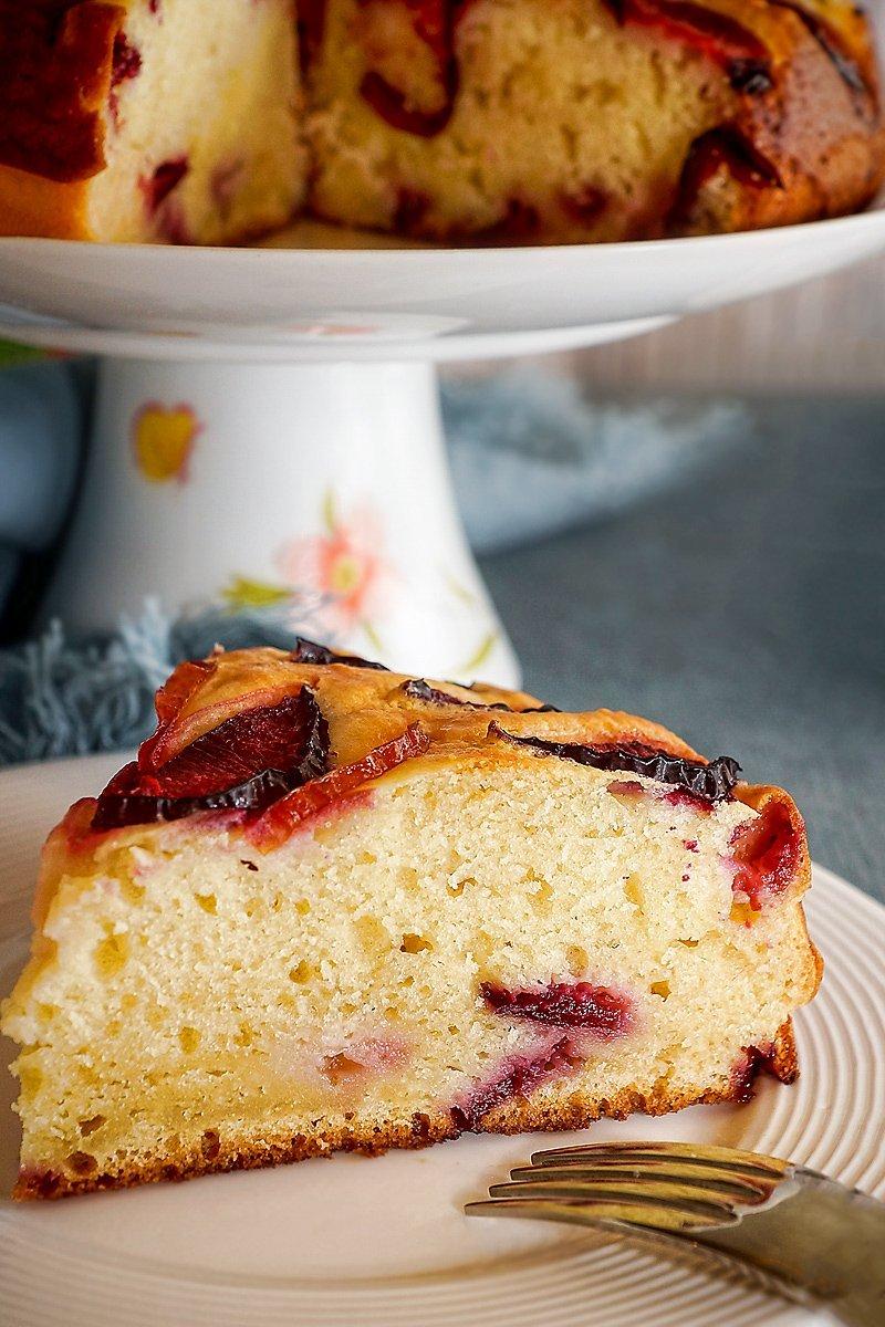 Plum Ricotta Cake slice