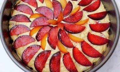 Plum Ricotta Cake ready to bake thumb