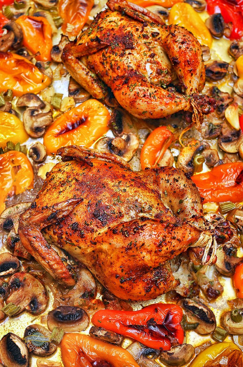 One Pan Roasted Cornish Hens and Vegetables